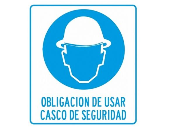 CARTEL DE SEGURIDAD USAR CASCO